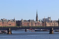Skyline of Stockholm on holiday. royalty free stock photo