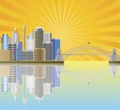 A skyline Sun de Sydney Austrália irradia a ilustração Imagens de Stock Royalty Free