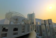 Skyline in the sun, satellite dish Stock Image