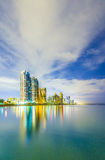 Skyline of Sunny Isles Beach by night with reflections at the surface of the ocean. Skyline of Sunny Isles Beach near Miami by night with reflections at the Stock Images