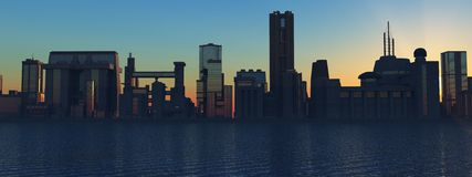 Skyline at sunset. (big city Stock Illustration