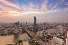 Skyline sunset with riverfront Bangkok Thailand Royalty Free Stock Photo