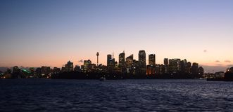 Skyline at sunset. Sydney. New South Wales. Australia. Sydney is the state capital of New South Wales and the most populous city in Australia and Oceania stock image