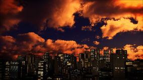 Skyline sunset and time lapse clouds, stock footage. Video stock illustration