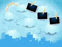 Skyline surreal com quadros do arco-íris e da foto Imagens de Stock Royalty Free