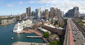 Australia, Sydney, Skyline, Circular Quay, New South Wales. Skyline of Sydney with Circular Quay, Australia, New South Wales Royalty Free Stock Image