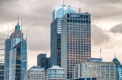 Skyline of Sydney harbour buildings at dusk Royalty Free Stock Image