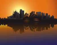 Skyline of Sydney at sunset. Illustration of the Skyline of Sydney at sunset Stock Photography