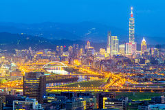 Skyline of taipei city. Aerial view of taipei at night Royalty Free Stock Photo