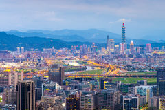 Skyline of taipei city. Aerial view of taipei at night Royalty Free Stock Image