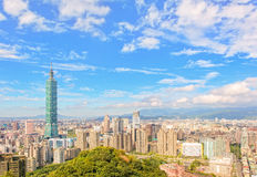 Skyline of the taipei city. Cityscape of taipei with 101 stock photo