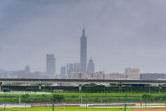 Skyline of taipei city with fog Royalty Free Stock Images