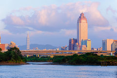 Skyline of taipei city by the sunset Stock Photo