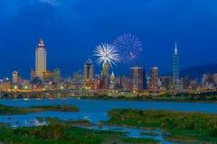 Skyline of Taipei city under dramatic sky Stock Image