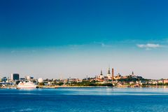 Skyline Of Tallinn And Harbour, Coast, Port Royalty Free Stock Image