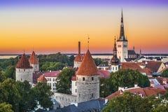 Skyline Tallinns Estland Stockbild