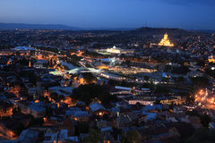 Skyline of Tbilisi city from Mtatsminda hill Stock Photo