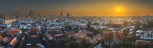 Skyline and the temple complex Bangkok, Thailand royalty free stock photo