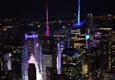 Skyline of Times Square at Night. The skyline of midtown New York City and Times Square at night royalty free stock photography