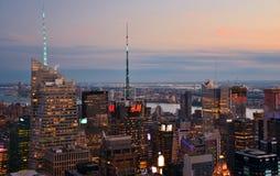 Skyline of Times Square at Sunset. July 3, 2017; Manhattan, New York, USA: The skyline of midtown Manhattan and Times Square in New York City at dusk Royalty Free Stock Photos