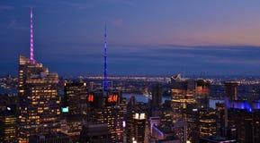 Skyline of Times Square at Sunset. July 3, 2017; Manhattan, New York, USA: The skyline of midtown Manhattan and Times Square in New York City at night Stock Image
