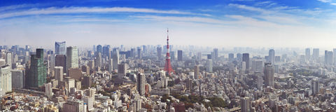 Skyline of Tokyo, Japan with the Tokyo Tower, from above Stock Images
