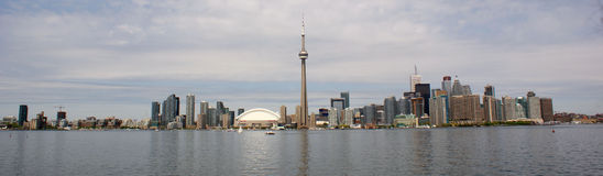 Skyline of Toronto, Canada. A wide view of the waterfront and skyline of Toronto, Canada Royalty Free Stock Photo