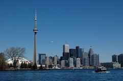 Skyline of Toronto city. View to the Toronto city from the centre island stock photography
