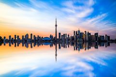 Toronto Downtown. Skyline of Toronto downtown with lake Ontario stock photo