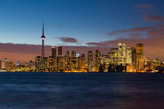 Skyline of Toronto at night after dusk Stock Photography
