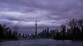 The skyline of Toronto at night. Lights and buildings. Dark sky royalty free stock images