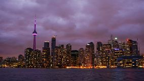 The skyline of Toronto at night. royalty free stock photo