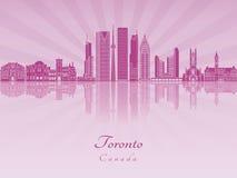 Skyline Torontos V2 in der purpurroten leuchtenden Orchidee Stockfotos