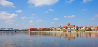 Skyline of Torun, Poland. Skyline old town of Torun and bridge across Vistula river, Poland Stock Images