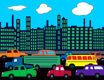Skyline Traffic. A busy city street with cars and traffic Stock Photos