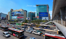 Skyline and traffic at Zhongguancun area. Beijing, China Stock Photos