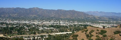 Skyline Trail Panorama. Panoramic view of the San Fernando Valley from Griffith Park, Hollywood, CA Stock Image
