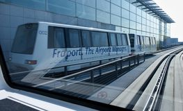 Skyline train at the Frankfurt International airport Stock Photos
