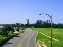 Skyline of Tulsa Oklahoma from pedestrian bridge in 2008 - historical View that of what is now been built up. The Skyline of Tulsa Oklahoma from pedestrian Royalty Free Stock Photo