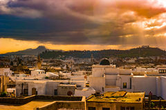 Skyline of Tunis at dawn. Stock Photo