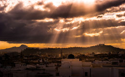 Skyline of Tunis at dawn. Royalty Free Stock Images