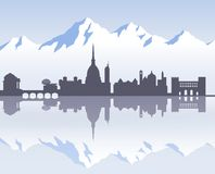 Skyline of Turin`s past Stock Image