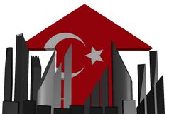 Skyline and Turkish flag arrow Stock Images
