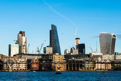 Skyline twilight with City of London skyscrapers and office buil Royalty Free Stock Image