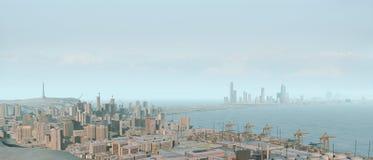 Skyline und Hafen der Stadt 3D Stockbild