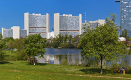 Skyline Uno City Vienna in summer at Kaiserwasser Royalty Free Stock Photos