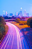 Skyline of uptown Charlotte. North Carolina at night royalty free stock images