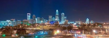 Skyline of uptown Charlotte panorama. Skyline of uptown Charlotte, North Carolina at night royalty free stock photo