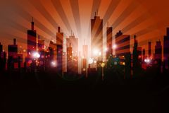 Skyline Urban Design. Cool Browny-Orange Skyline Sun Rise with Rays and Glowing Particles vector illustration