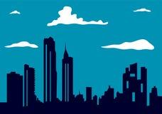 Skyline urbana da cidade no fundo da noite Fotografia de Stock